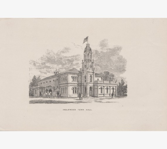 Inglewood Town Hall Victoria engraving 1885