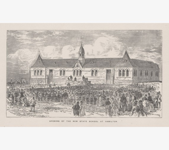 Opening State School Hamilton Lithograph engraving