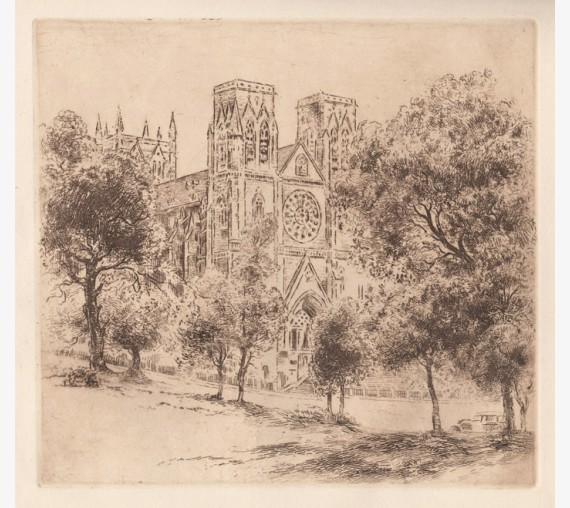St Marys Cathedral Sydney etching