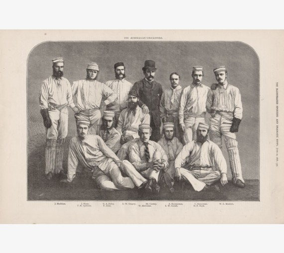 Australian Cricketers antique engraving print cricket team