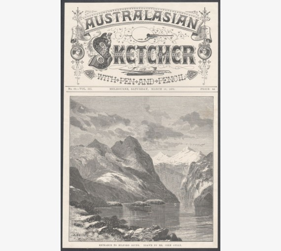 entrance milford sound new zealand engraving australasian sketcher
