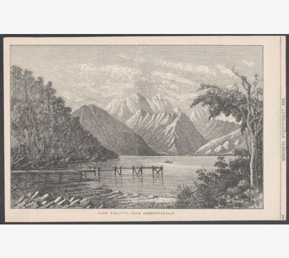 lake wakatipu from greenstone flat new zealand engraving