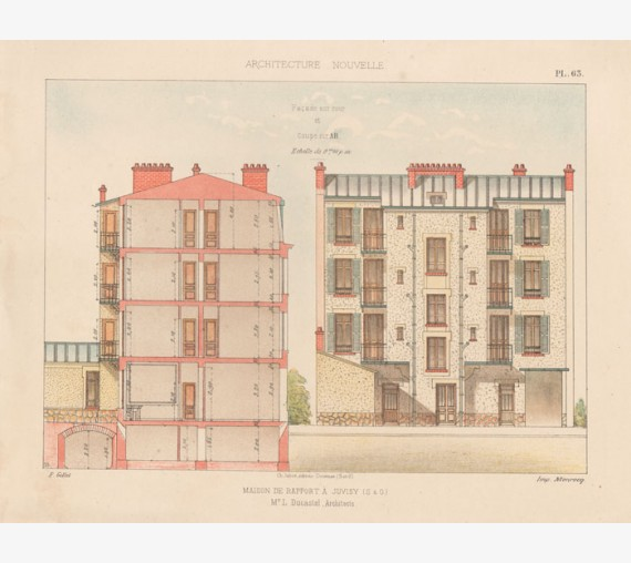 maison french architectural chromolithograph gillet