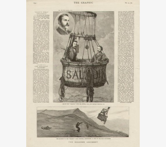 Ballooning Balloon Accident Saladin antique print engraving