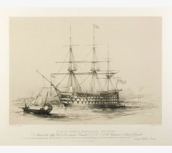 Oswald Brierly HMS Royal Adelaide ship lithograph