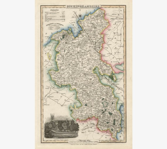 buckinghamshire english county slater antique map