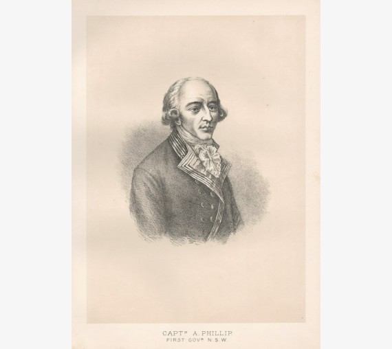 Captain Arthur Phillip lithograph portrait