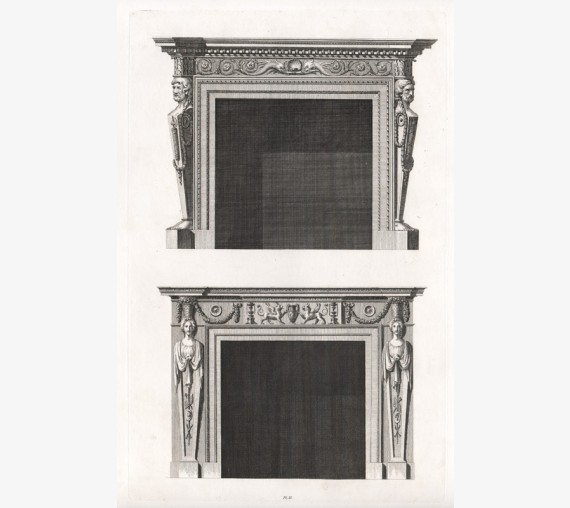 William Chambers fireplace design antique engraving print