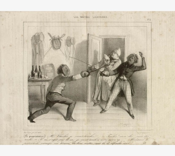 Le Proprietaire Fencing French antique sporting print