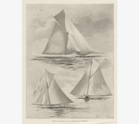 Contest America Cup Yacht Valkyrie III antique print yachting