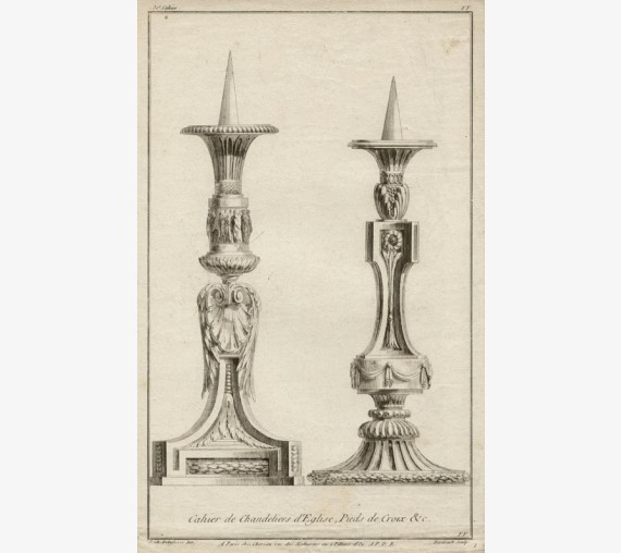 Delafosse candlesticks French design antique engraving print