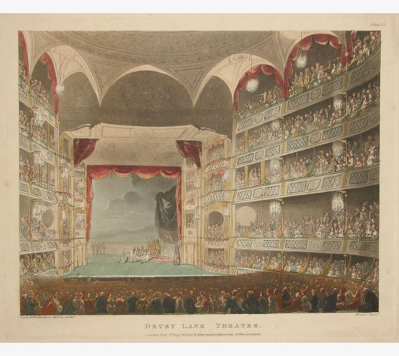 Drury Lane Theatre Rowlandson Mircocosm London aquatint