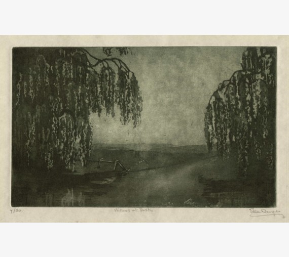 Willows at Dusk aquatint Ella Dwyer