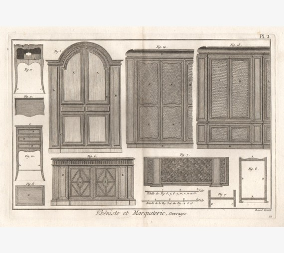 Ebeniste et Marqueterie antique engraving print furniture