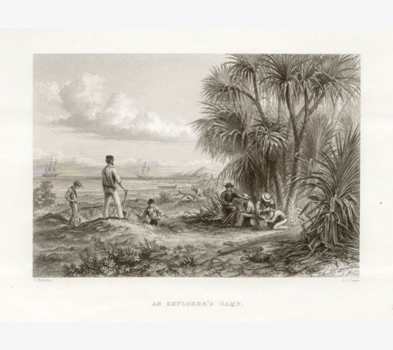An Explorers Camp engraving Thomas Baines