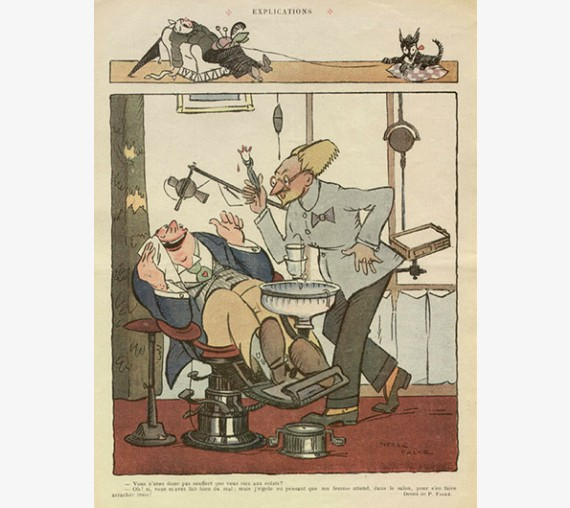 Explications Falke French humourous lithograph dentist
