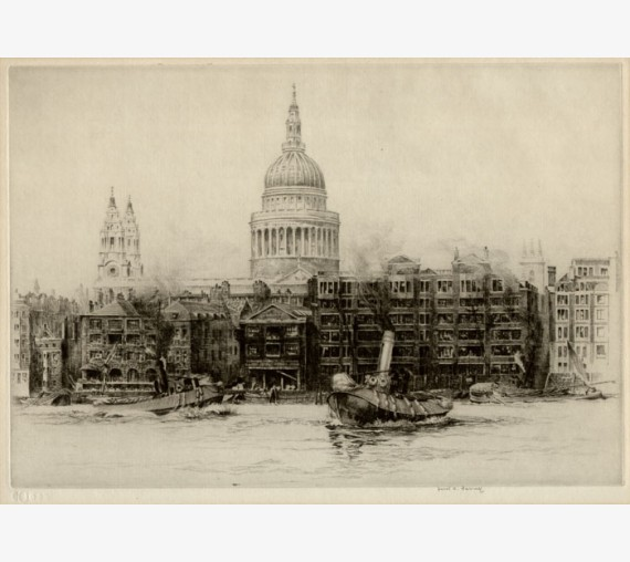 St Pauls London signed etching Frederick Farrell