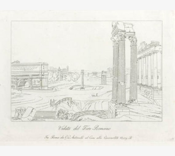 Roman Forum Etching Italian