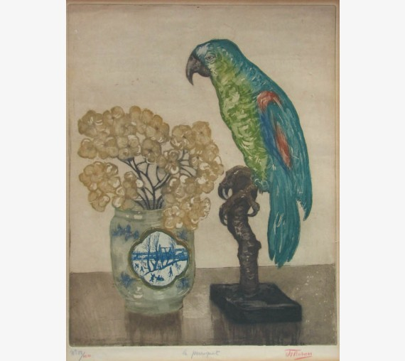 Le Perroquet colour etching Jehan Frison