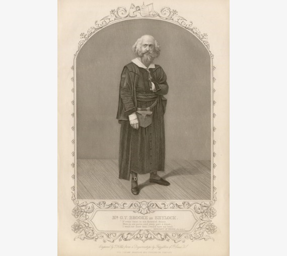 GV Brooke Shylock engraving theatrical portrait