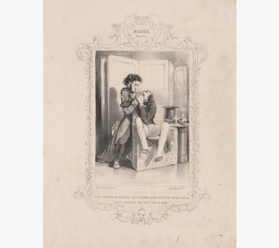 Gavarni Dentiste lithograph dentist extraction