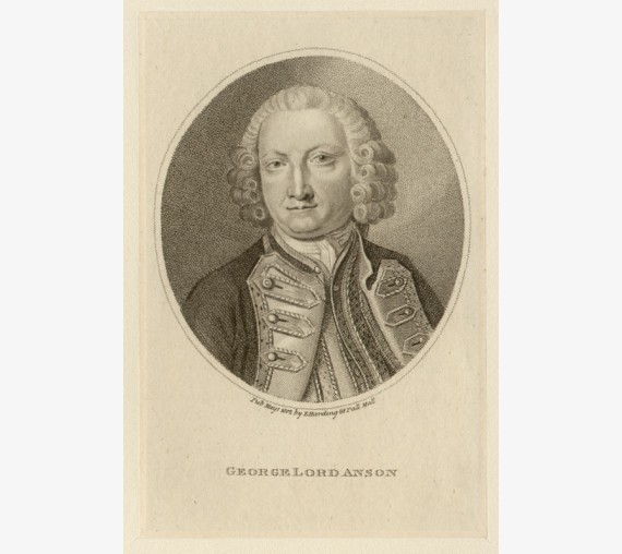 Admiral George Lord Anson portrait engraving naval