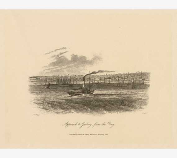 Approach Geelong from Bay Lithograph Tingle ST Gill