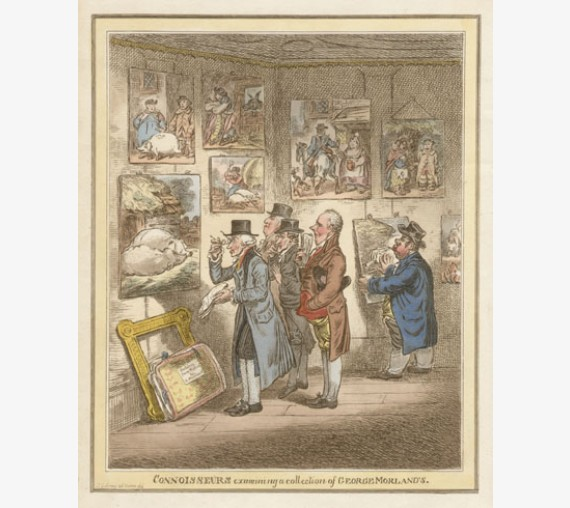 Gillray etching Connoisseurs examining collection of George Morlands