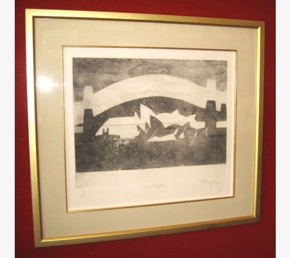 Bridge aquatint Pamela Griffith Sydney opera house harbour
