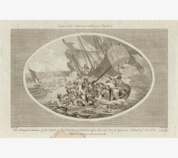 Guardian Frigate wrecked 1789 engraving Benezach 1791