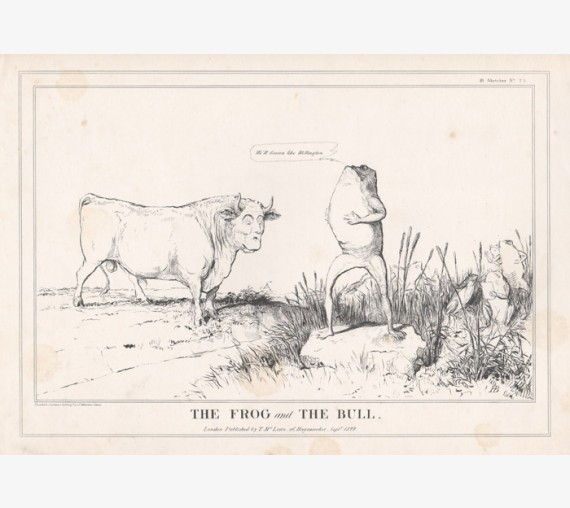 HB Doyle lithograph caricature Frog Bull Wellington