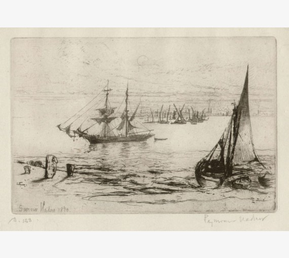 A Brig at Anchor etching Francis Seymour Haden