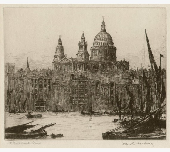 St Pauls from the River etching Frank Harding