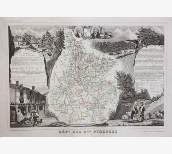 hautes pyrenees levasseur french department antique map