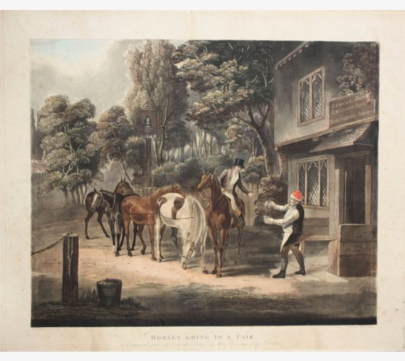 Horses Watering Colour aquatint Fellows Jones