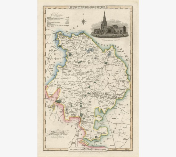 huntingdonshire english county slater antique map