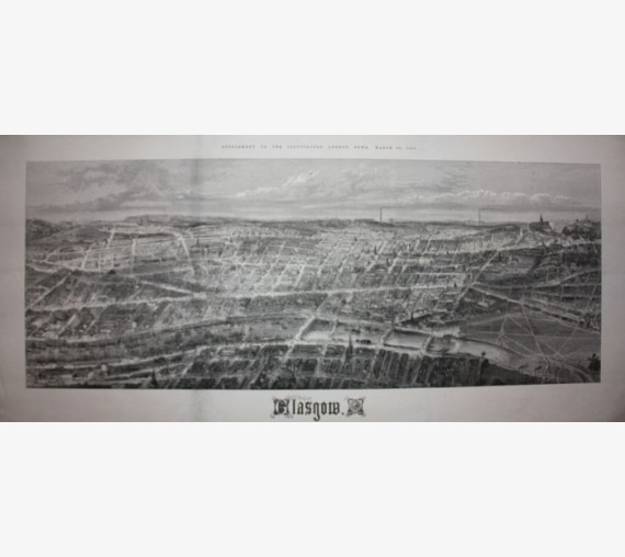 Glasgow panorama antique Victorian engraving print ILN
