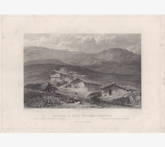 India Jerdair Village Gurwall Elliot antique engraving