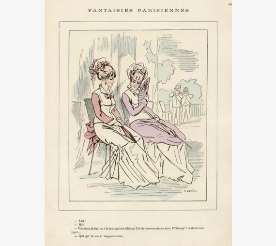 Alfred Grevin French caricature Fantaisies Parisiennes fan