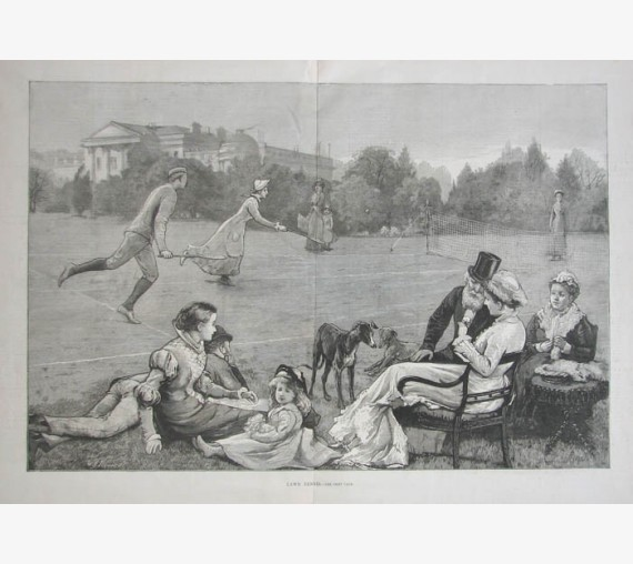 Lawn Tennis antique wood engraving 1880