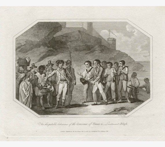 Hospitable behaviour Governor Timor Lieutenant Bligh engraving 1802