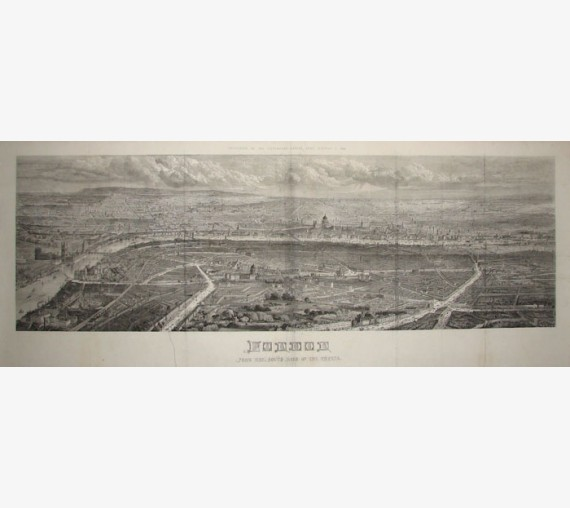 London panorama antique Victorian engraving print ILN