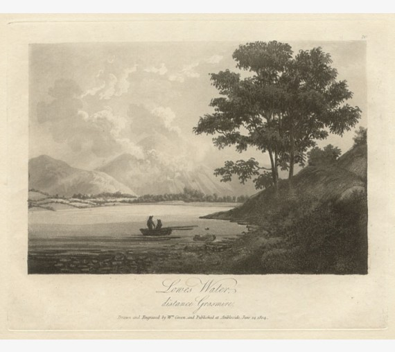 Lake District Lowes Water Green antique engraving