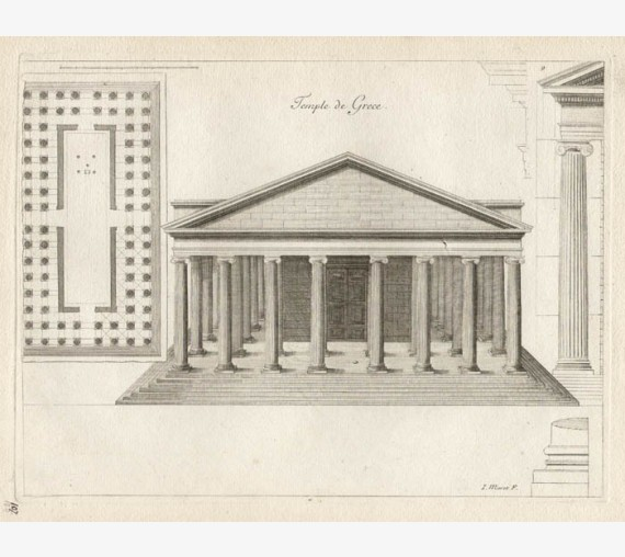 Greek Temple antique engraving print marot