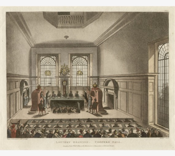 Lottery Drawing Coopers Hall Rowlandson Mircocosm London aquatint