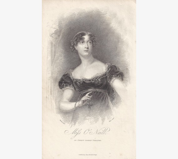 Miss O'Neill Covent Garden Theatre portrait engraving Irish