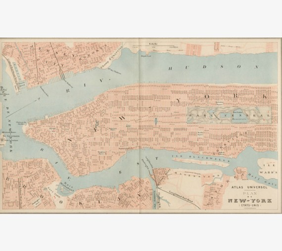 plan of new york, genuine antique map