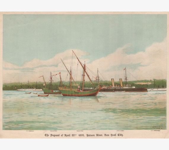 Pageant 1893 Hudson River New York City lithograph