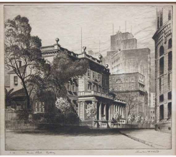 Union Club Sydney Austin Platt signed etching