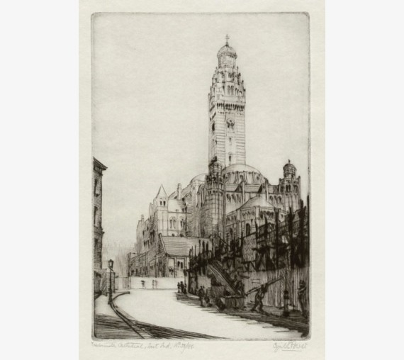 Westminster Cathedral Cyril Power signed etching